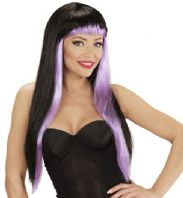 Gothic Glam Wig Black/Purple (06765)